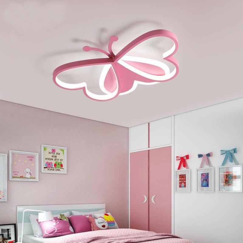 Nordic Kinderkamer Slaapkamer Licht Led Plafondlamp Roze/Blauw Cartoon Vlinder Slaapkamer Licht AC85 - 265V