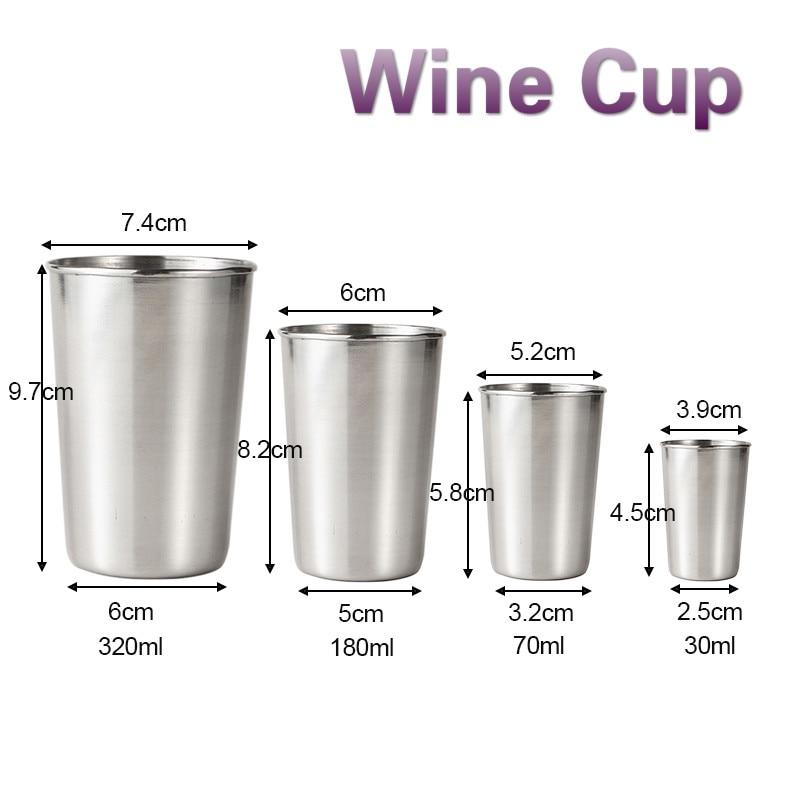 30ml/70ml/180ml/320ml de vino de acero inoxidable gafas taza portátil cerveza llavero exterior copa de whisky tazas Vasos
