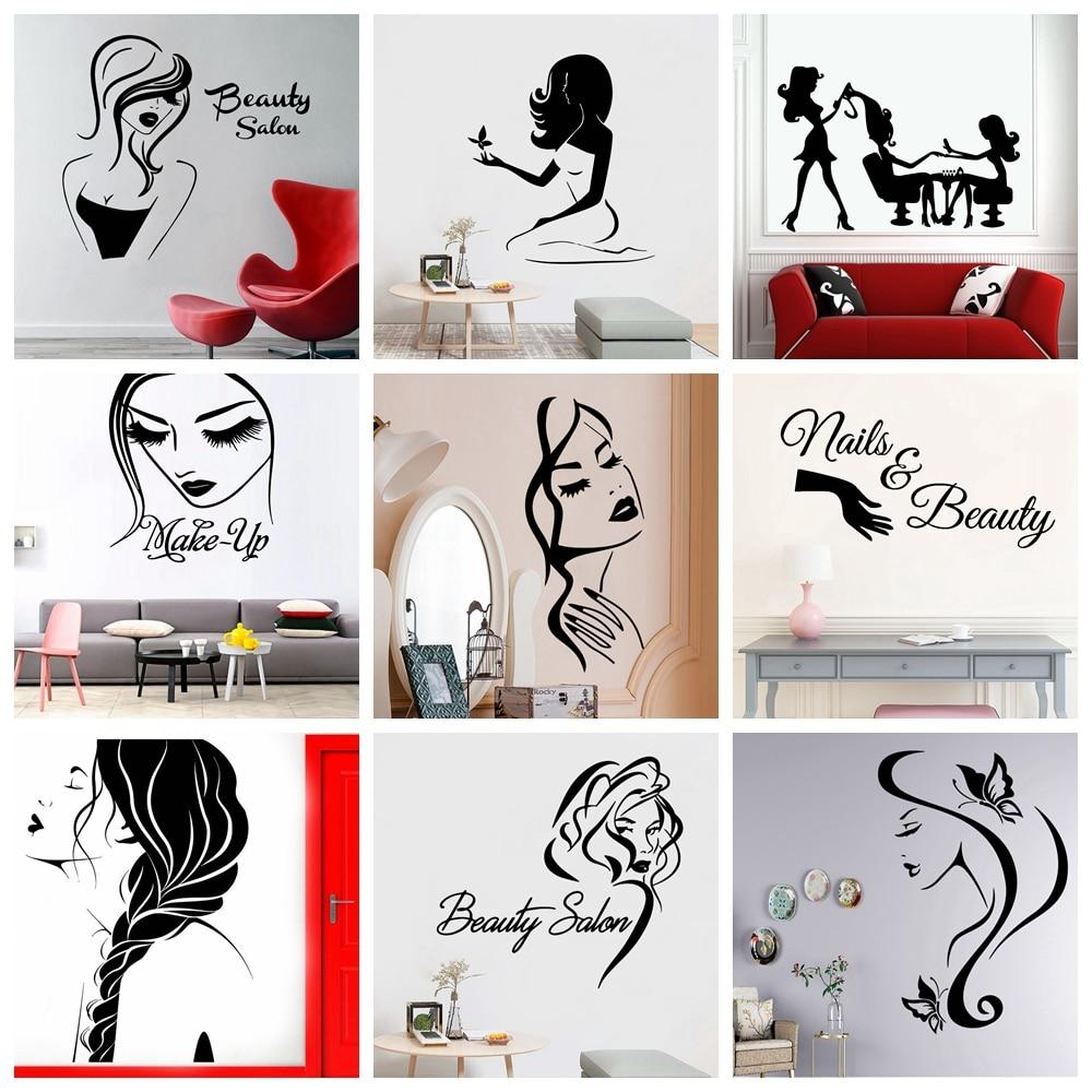 Beauty Salon Vinyl Wall Sticker Home Decorative Wall Paper For Living Room Bedroom Make Up Wall Art Sticker Murals