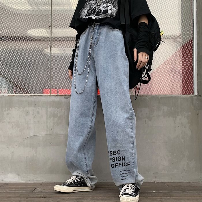 Ins Light Jeans Men Cool Graffiti Print Denim Pants Solid Color Fashion Retro Baggy Hip Hop Style Jeans High Street Casual Pant