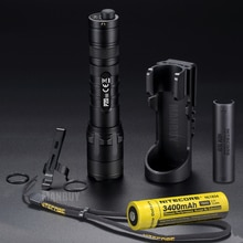 Vente en gros Nitecore P20v2 + 18650 batterie Rechargeable NTH20 étui 1100 Lumen tactique lampe de poche LED stroboscope prêt livraison gratuite