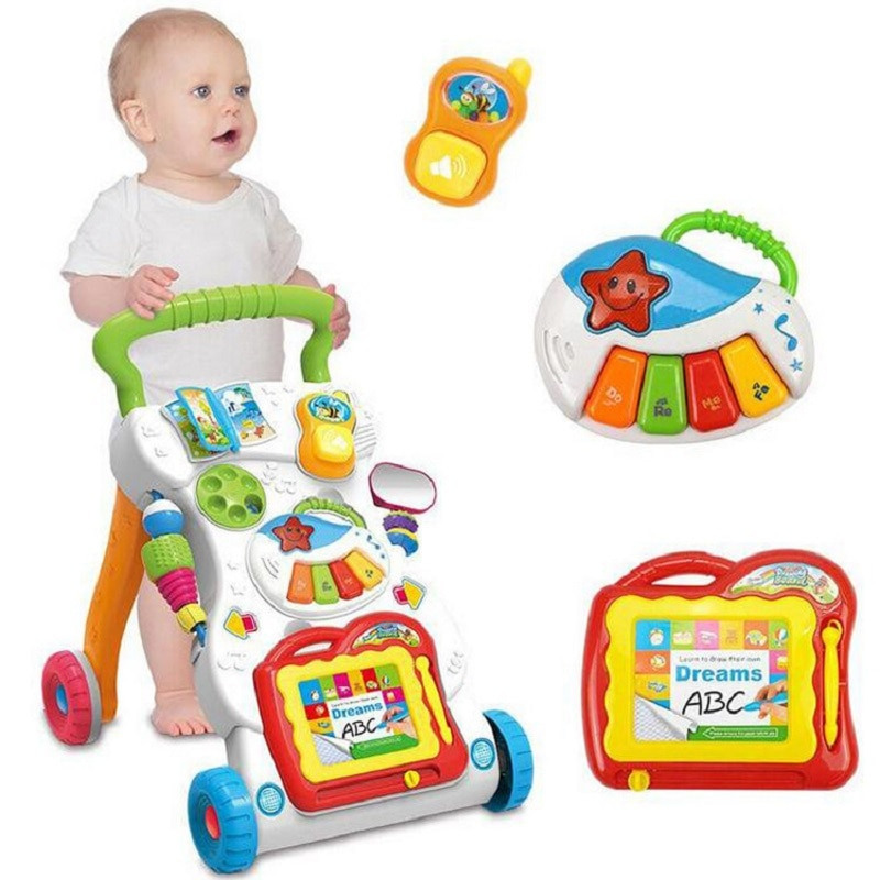 Baby Walker Multifunction Infant Stand-to-Sit Toddler Four Wheels Trolley Kids Learning Walking Toddler Toys Piano Drawing Gift
