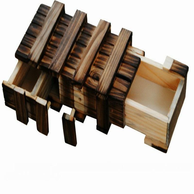 Vintage boîte de Puzzle en bois avec tiroir Secret compartiment magique casse-tête jouets en bois Puzzles boîtes enfants bois jouet cadeau