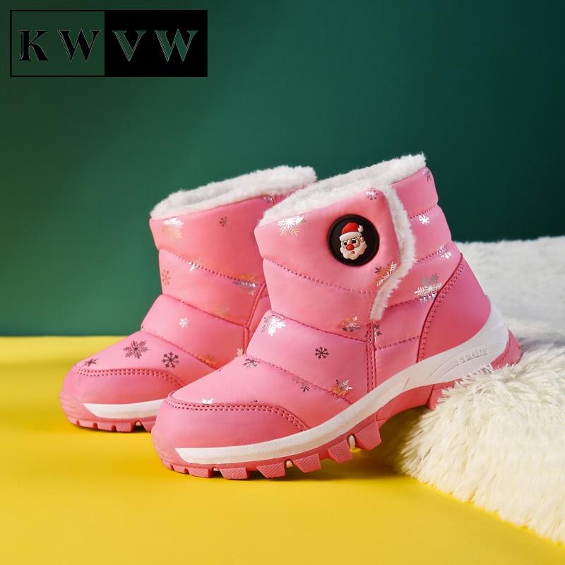 Chaussures d'hiver confortables, souples et antidérapantes pour enfants, bottines de Sport de neige, en coton et velours, à la mode