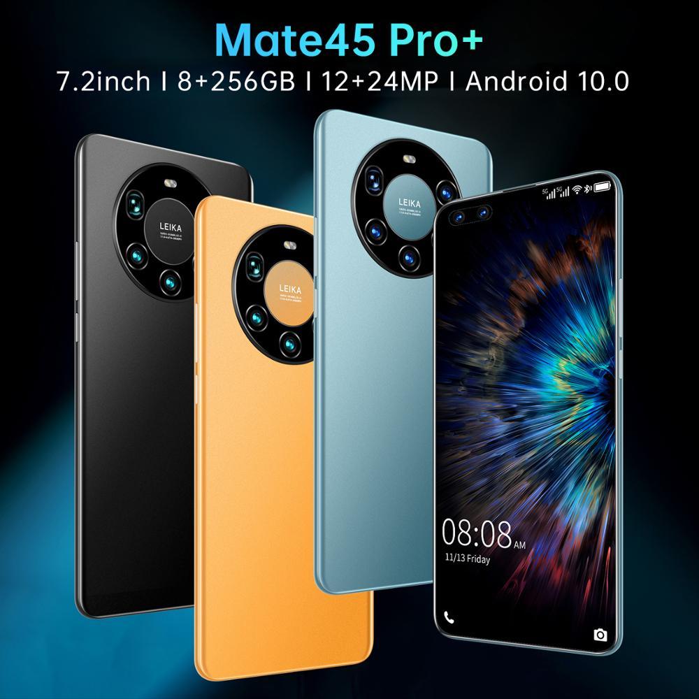 الإصدار العالمي 7.2 بوصة Mate45 Pro + الهاتف الذكي 5000mAh 12 + 512GB الهاتف المحمول Android10 الوجه/بصمة فتح 4G 5G Networkphone