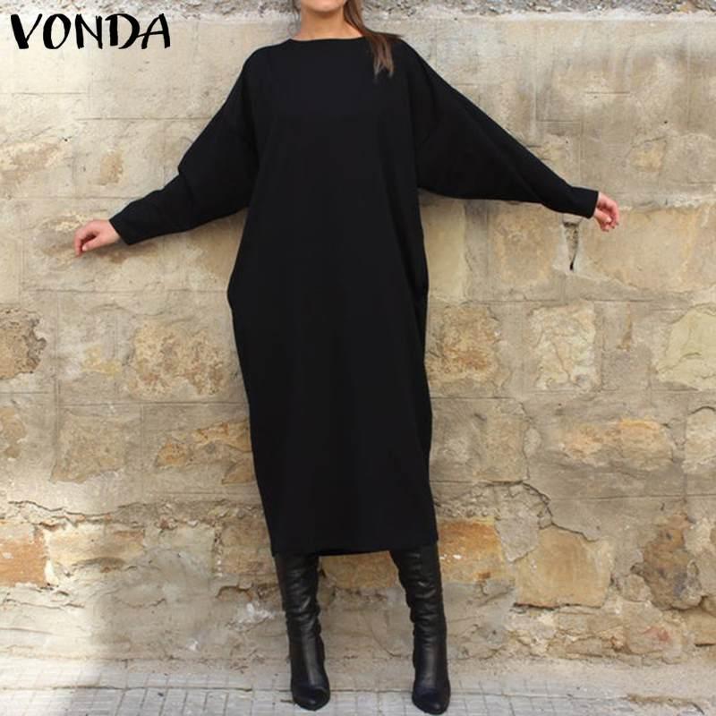 VONDA mujer otoño largo Maxi vestido moda mujer túnicas cuello redondo manga larga camisa vestido fiesta Vestidos de talla grande Robe Mujer