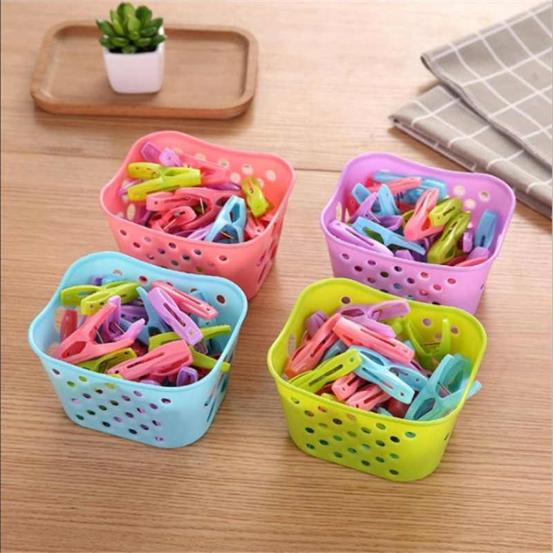 30PCS Plastic Clothes Pegs Laundry Clothespin Clothes Pins Storage Organizer Quilt Towel Clips Spring With Basket Cabides Hanger 16x2 4cm 4 packs large clothespin spring clip color plastic clothes quilt household daily use