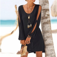 robe sexy dress fashion women casual o-neck hollow out sleeves dress straight solid beach Style Mini dress women