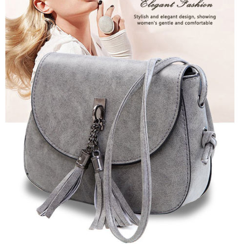 Bolsa feminina transversal couro, bolsa de ombro com borla
