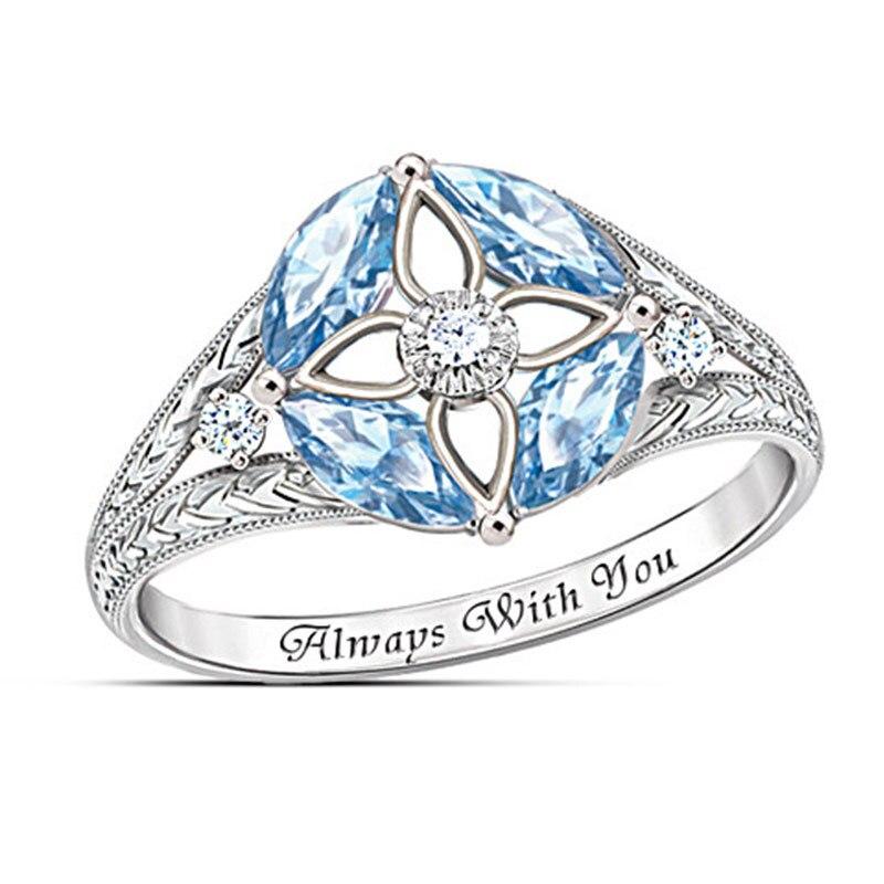 Anel de zircão feminino simples azul oco senhora anel de luxo high end temperamento jóias noivado dia dos namorados namorada presente