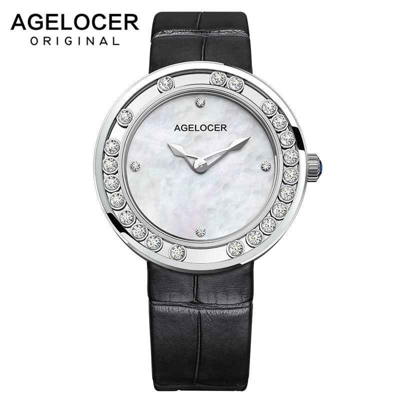 AGELOCER ساعة نسائية ساعات السيدات العلامة التجارية الفاخرة الفاخرة سعيد الماس تصميم الإناث ساعة الموضة المرأة ساعة اليد للنساء
