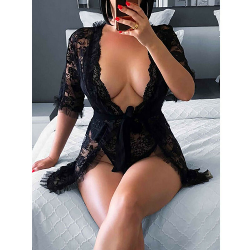 Women's Eyelash Lace Babydoll Lingerie Set Mesh Nightwear Sets Sheer Nightgown Tops Nightgown Costum