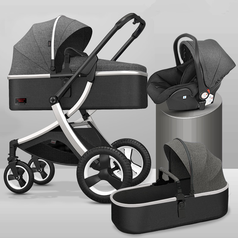 2021 High Landscape Baby Stroller 3 in 1 With Car Seat and Stroller Luxury Infant Stroller Set Newborn Baby Car Seat Trolley enlarge