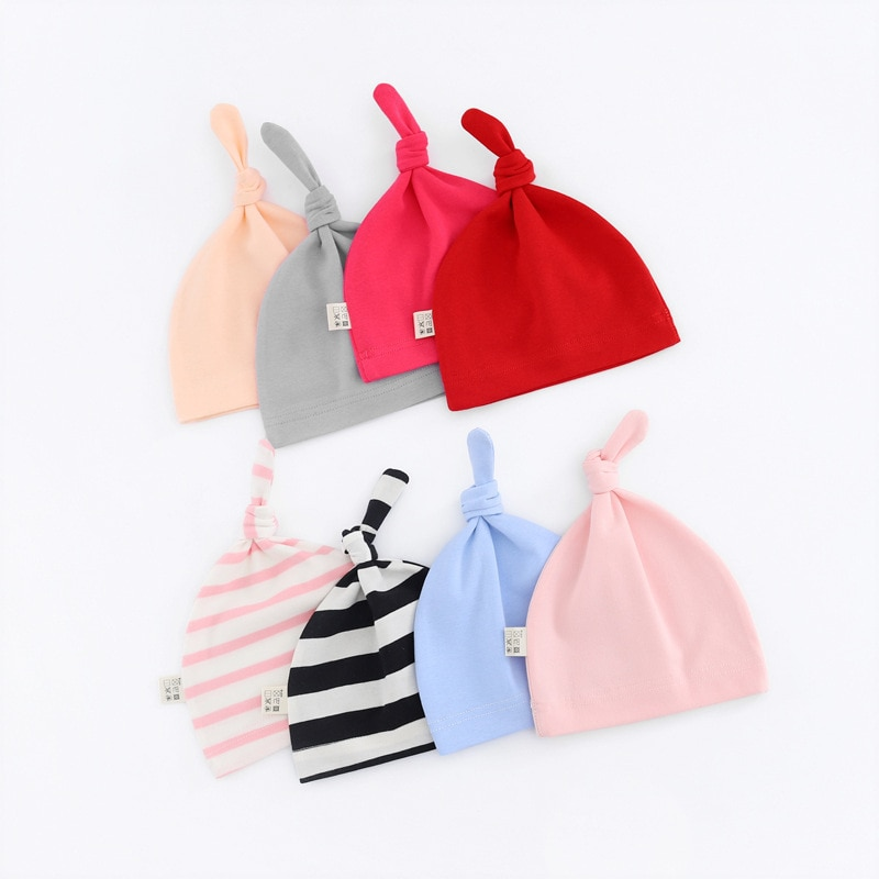 Wholesale 50pcs Newborn Baby Cotton Knot Beanies Toddler Girls Sleep Caps Cute Cap For Girls Boys Caps Casual Solid Color