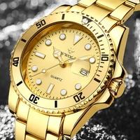WWOOR мужские наручные часы s 2021 повседневные спортивные водонепроницаемые часы с датой топовый бренд роскошные стильные золотистые кварцевы...