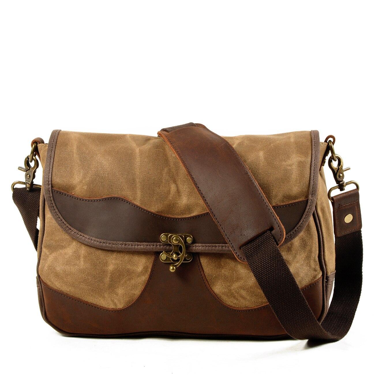 Bolso de hombro Retro de lona para hombre, nuevo estilo, bolso de ordenador portátil para exterior a la moda, bolso de sillín informal de piel de vaca Camel