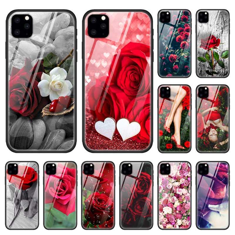 אדום ורדים פרחי מקרה עבור Apple iphone 11 פרו XR XS מקסימום X 7 8 6 6S בתוספת מזג זכוכית + שחור סיליקון כלובי טלפון כיסוי Coque