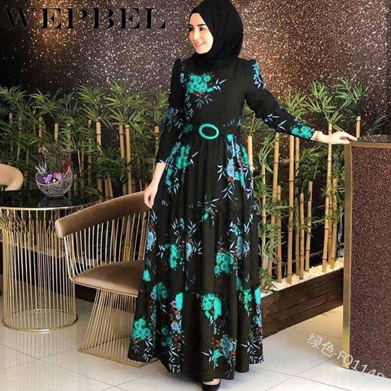 WEPBEL, vestido musulmán para mujer, Abaya islámico, manga larga, Floral, flores, volantes, moda Casual, Otoño, para mujer, largo Maxi vestidos
