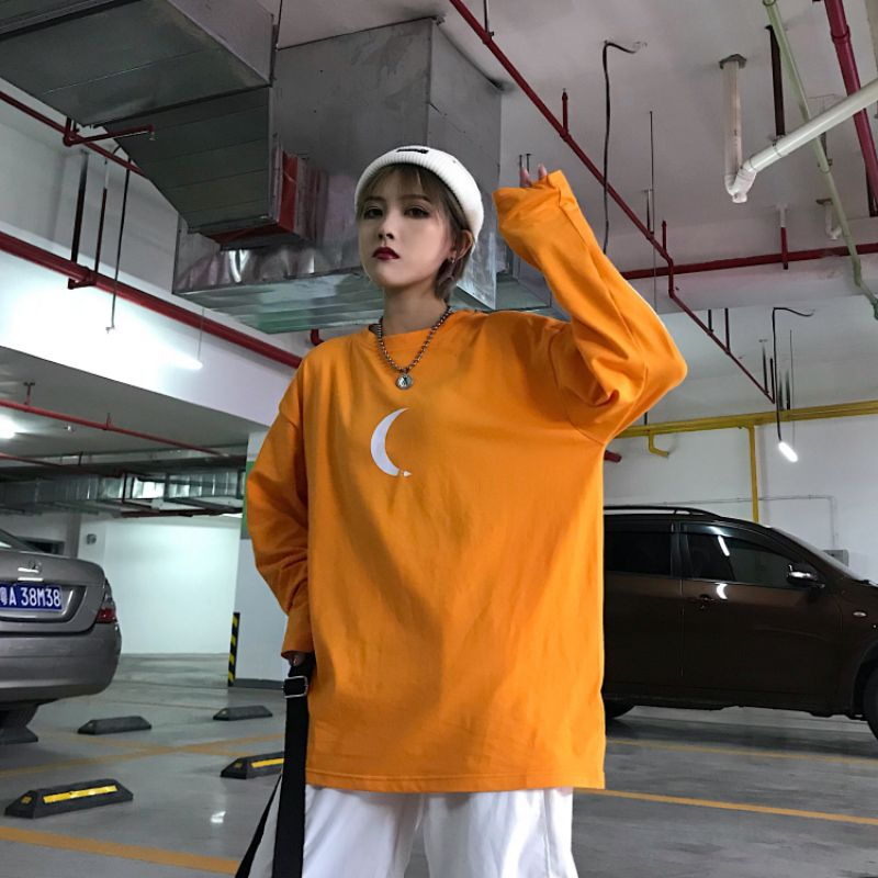 Mujeres Oversize primavera Top camisetas de manga larga naranja Hip Hop BF Streetwear Casual suelta camiseta Feme