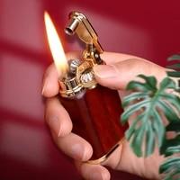 2022 kerosene lighter windproof flint ignition gasoline creative metal wood shell mechanical oil lighter gadgets for men