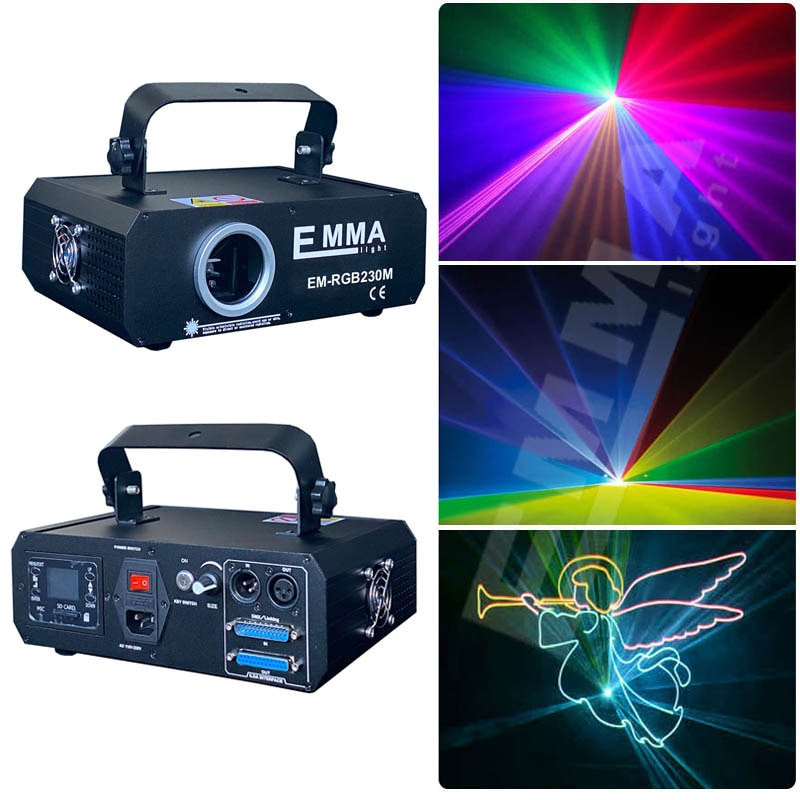 1W RGB animación láser Luz 0-30kpps galvo escáner disco equipo