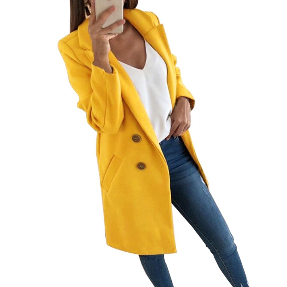 Sfit moda Otoño abrigo largo mujeres Turn Down Collar sólido amarillo abrigo Casual señora Slim elegante abrigo de mezcla Clothes2