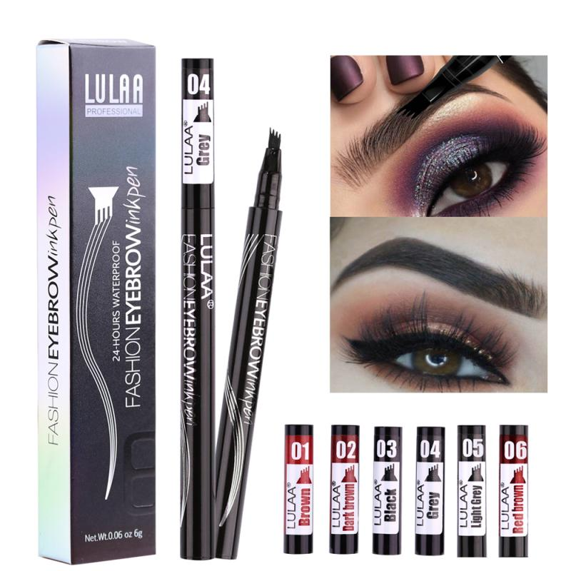Impermeable ceja Natural pluma de cuatro garra de cejas tinte maquillaje cuatro colores lápiz de cejas marrón negro gris cepillo cosméticos TSLM1