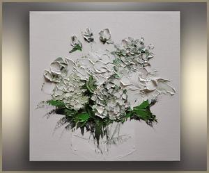 White Hydrangea and Peonies,Abstract,Floral Painting,Valentine's Day Gift, Original Art, Oil Painting,Palette knife,Green,