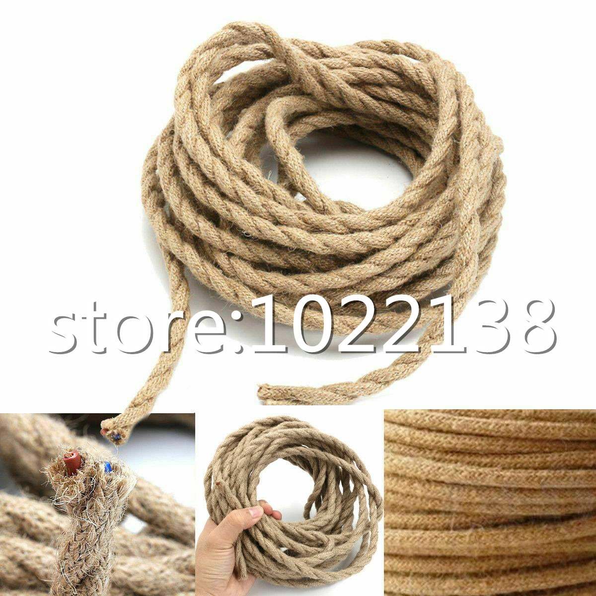 Cable trenzado de cuerda de cáñamo, 18 alambre de cobre Awg, Cable...