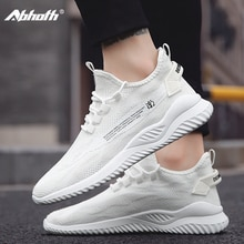 Abhoth Casual Shoes Men's Sneakers Breathable Lightweight Training Shoes Non-slip Lace-Up PVC White