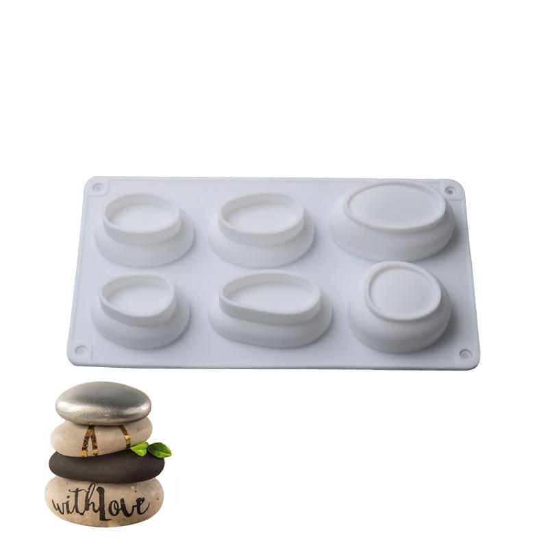 Силиконовая форма для торта в форме гальки с 3/6 отверстиями, 3D овальная форма для кексов, печенья, маффинов, мыла, форма для выпечки