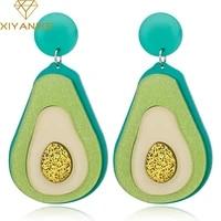 xiyanike korean sweet girl charming fashion jewelry earrings women fruit winter personality simulation green avocado earrings