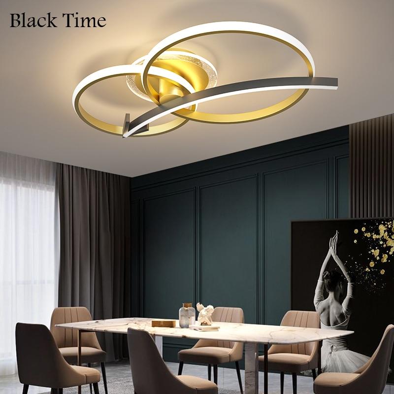 Современные светодиодные люстры, комнатное освещение для гостиной, спальни, столовой, кухни, Декор, потолочные светильники золотого и черно...