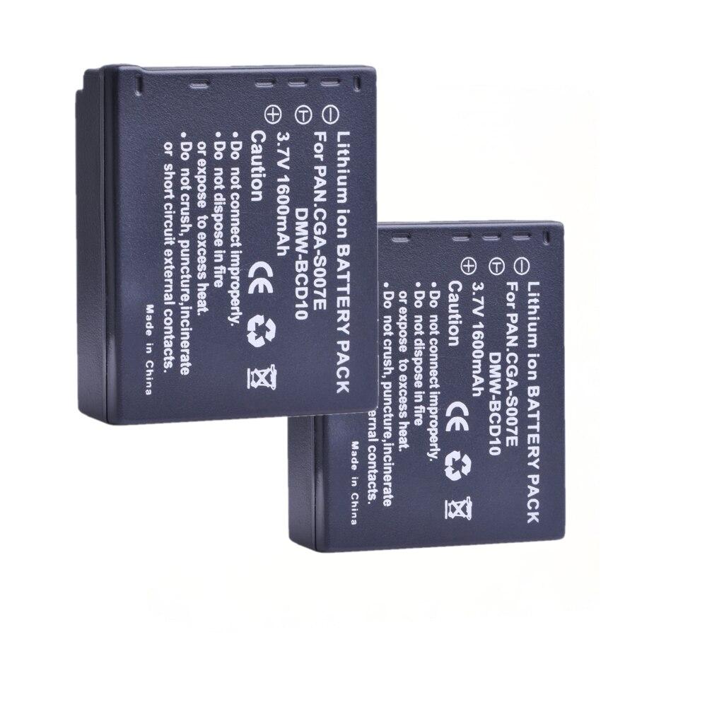 2 uds 1600mAh CGA-S007E CGA-S007 DMW-BCD10 batería para Panasonic DMC TZ1... TZ2... TZ3... TZ4... TZ5... TZ50... TZ15... CGA S007E S007 DMW BCD10