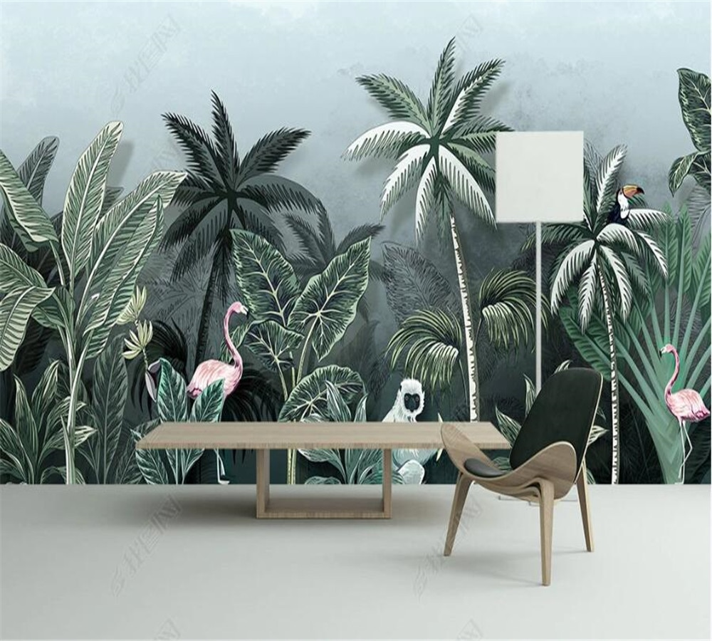 Custom 3D wallpaper 8D mural hand-painted tropical rainforest flamingo HD medieval background wall decoration painting