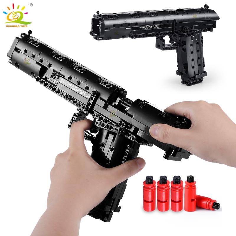 HUIQIBAO 563PCS Desert Eagle Toy Model Building Blocks Set Assembly Bricks City DIY Weapon Game Gun Children Toys Gift