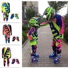 ETB Parent-child Off-road Racing Gear Set Adult Children Suit Mountain Bike ATV Motocross Suit Jersey Pants Gloves Combination