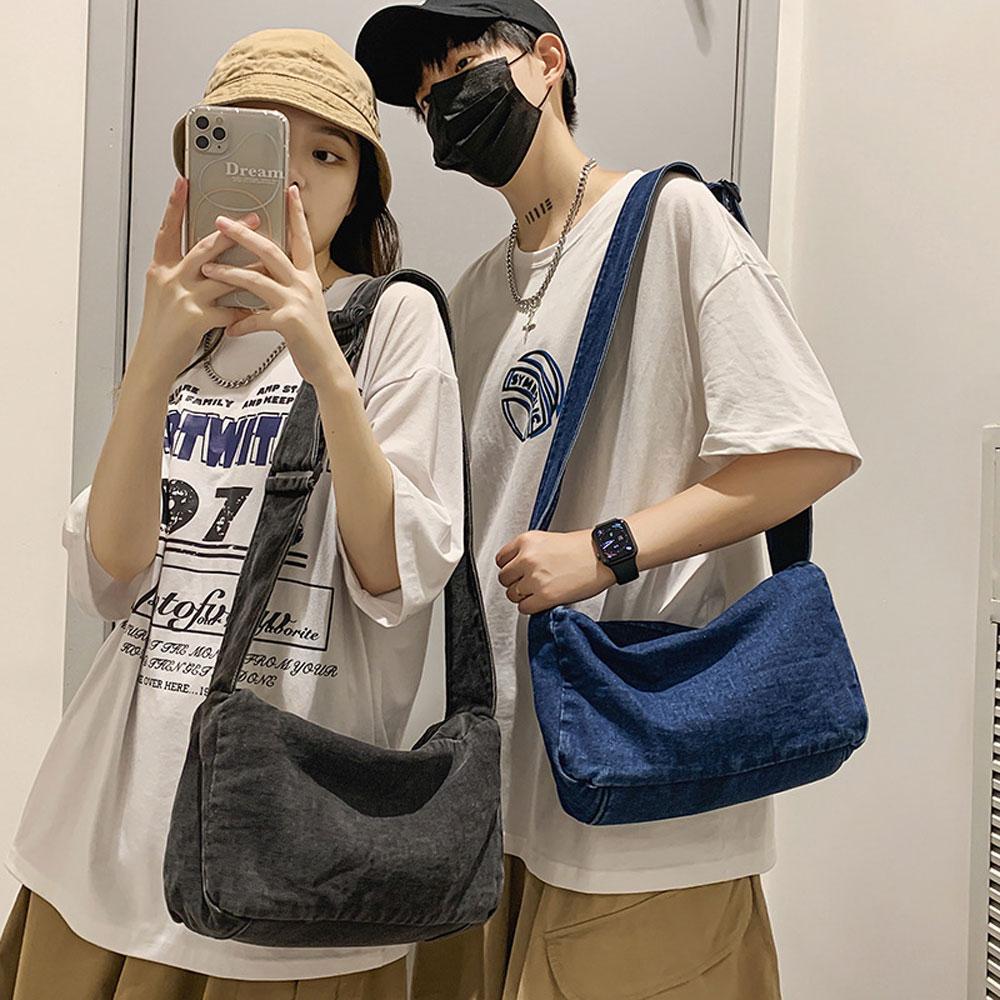 Fashion Trend Denim Shoulder Bags Men Women Casual Large Capacity Crossbody Bags New Unisex Retro Handbag Leisure Outdoor Totes