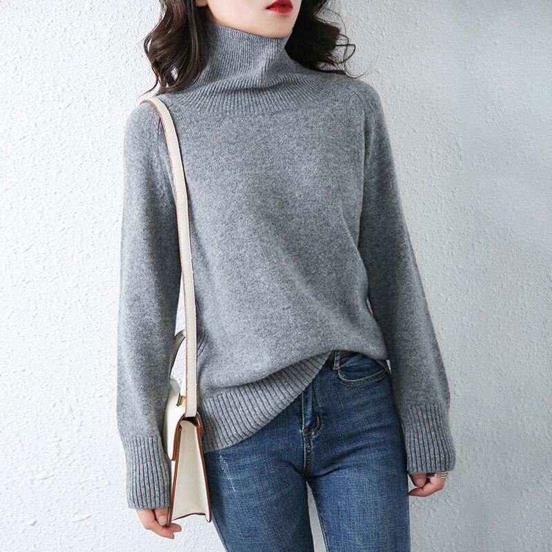 LHZSYY الخريف الشتاء جديد عالية الرقبة بسيطة البلوز المرأة سترة الكشمير المعنقة محبوك طويلة الأكمام كبيرة الحجم 100% الصوف قاعدة قميص