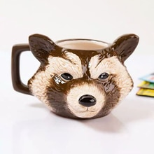 Criatividade foguete 3d raccoon caneca de café galaxy convoy cerâmica drinkware canecas copos de café porcelana estilo animal para amigos presente