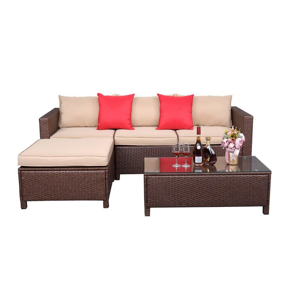 Patio Furniture 5Pcs Set Rattan Sofa Hanging Legs 2 Corners 1 Sofa...