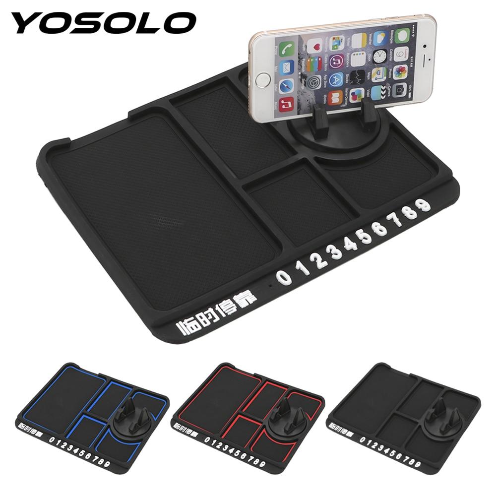 YOSOLO Non Slip Sticky With Phone Number Plate Auto Dashboard Pad Car Anti-Slip Mat Phone Holder Bracket Multifunctional
