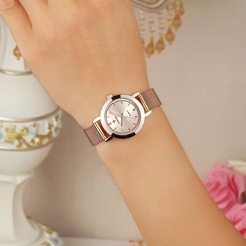 WWOOR Luxury Brand Watch Women Bracelet Watch Rose Gold Steel Mesh Quartz Ladies Watches Waterproof Watch For Women montre femme enlarge