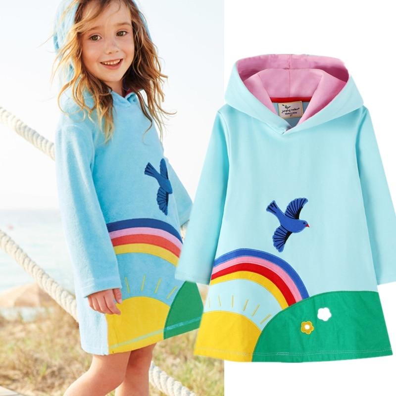 Filles à capuche robe à manches longues filles hiver automne robes princesse Costume robes décontractées pour 3-8 ans impression enfants vêtements