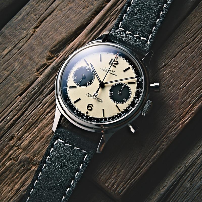 1963 Chronograph Mechanical Seagull ST1901 Movement Pilot Watch Men 38mm 40mm Sapphire Gooseneck wat