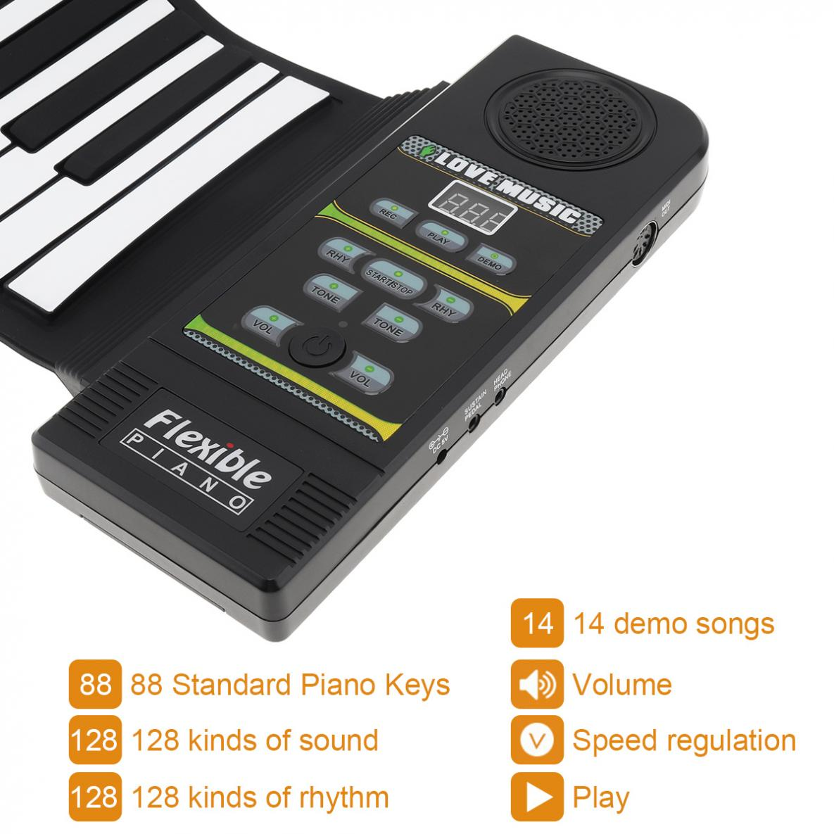 88Keys Electronic Flexible Roll Up Piano 128 Tones 100 Rhythms USB & MIDI Port with Speaker for beginners / Performance enlarge