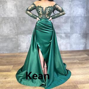 Emerald Green Split Evening Dresses Off Shoulder Detachable Train Islamic Dubai Kaftan Saudi Arabic Evening Gown Prom Dress