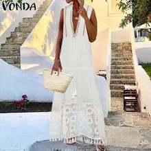 Beach Summer Sundress Women Long Party Dress Sexy Deep V Neck Floral Patchwork Lace Dress 2020 VONDA Plus Size Vestido Long Robe