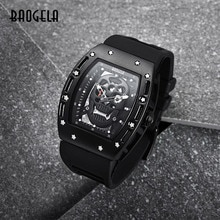 BAOGELA 새로운 도착 스타일 해적 해골 석영 남자 시계 군사 실리콘 브랜드 망 스포츠 시계 방수 Relogio Masculino