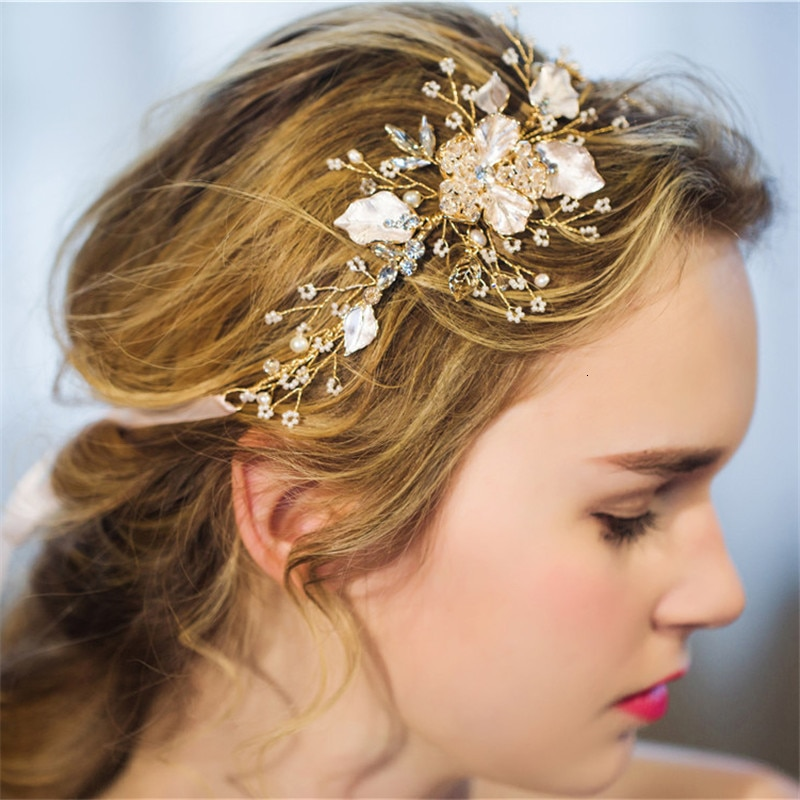 Banda para el cabello D230 novia decoración para el cabello NPASON tocado flor perla cristal banda para el cabello accesorios Joker